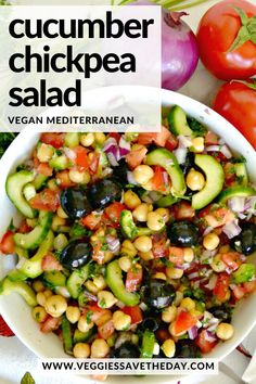 Chickpea Cucumber Saladis a healthy summer recipe. Its easy to make with in 15 minutes with common ingredients and its delicious as a starter or light meal. And you can make this Mediterranean chickpea salad in advance and enjoy it throughout the week. Healthy Summer Recipes, Healthy Salad Recipes, Veggie Recipes, Vegetarian Recipes, Chickpea Salad Recipes, Clean Eating Recipes, Clean Eating Snacks, Healthy Eating, Cooking Recipes