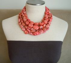 Pink coral necklace. Just beautiful.