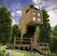 Spiritual Cross Shaped Off Grid Tiny Cabin Design~This one-person, off grid, cross shaped tiny cabin is a prototype Tbilisi, Georgia based architect, Dachi Papuashvili designed. This type of dwelling could be used as a spiritual retreat, writer's getaway or off grid cabin.  The design consist of two insulted shipping containers that would be clad with wood.
