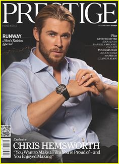 Chris Hemsworth covers 'Prestige' October 2012. He is hot, but I like his brother Liam better.