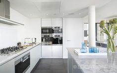 Modern Kitchen London in penthouse apartment in London. Available for filming and events.