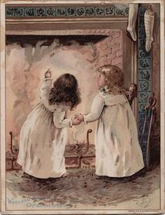 Two little girls waiting in front of the fireplace for Santa to come down the chimney.