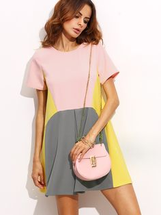 Shop Color Block Pocket Short Sleeve Shift Dress online. SheIn offers Color Block Pocket Short Sleeve Shift Dress & more to fit your fashionable needs.