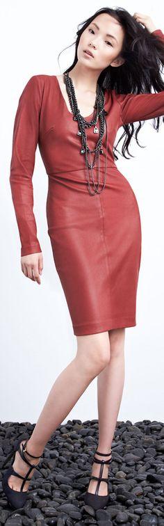 Robert Rodriguez Long Sleeve Leather Dress