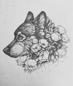 Wolf flower tattoo