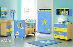 Baby Room Decor, Nursery Room, Boy Room, Ocean Baby Rooms, Pirate Baby, Prams, Blue Yellow, Toddler Bed, Furniture