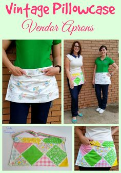 Just in time for yard sales and summer markets- turn a pretty vintage pillowcase into a darling AND functional two-pocket vendor apron!! A thrifted ribbon belt completes this simple, easy upcycling project, perfect for old bed linens! #SadieSeasongoods
