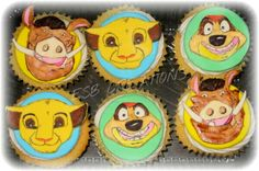 Simba, timon and bomba Disney Snacks, Disney Food, Lion King Cupcakes, Specialty Cakes, Foods, Food, Food Food, Disney Dining, Food Items