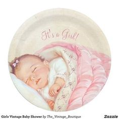 Shop Girls Vintage Baby Shower Paper Plate created by The_Vintage_Boutique. Personalize it with photos & text or purchase as is! Girl Shower, Baby Shower, Vintage Boutique, Self Inking Stamps, Vintage Greeting Cards, Party Tableware, Vintage Paper, Paper Plates, Baby Photos
