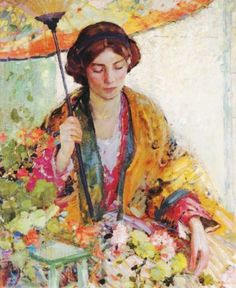 Richard Edward or Emil Miller (1875-1943) ) Woman with Parasol    An American artist who was able to combine all of the elements of Impressionism into purely American paintings was Richard (Edward or Emil) Miller (1875–1943). Here we have it all--Asian robes, parasols, taking tea, the milliner, goldfish, women at ease, fans, gardens, & dressing tables--all the subjects so dear to the hearts of the Impressionists.  He also uses all the components of Japonisme in his works.