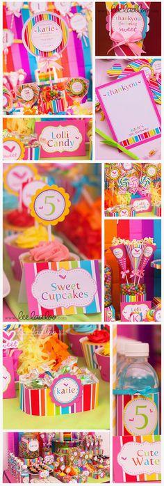 Sweet Lollipop Birthday Party  printable decoration by www.leelaaloo.com