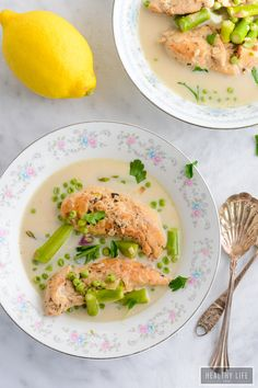 Slow Cooker Coconut Lemon Chicken a creamy, vibrant dinner recipe that is sure to become a favorite go to recipe. Not only is this made in one pot but is healthy, low calorie, gluten-free, dairy-free and can be made paleo friendly   ahealthylifeforme.com