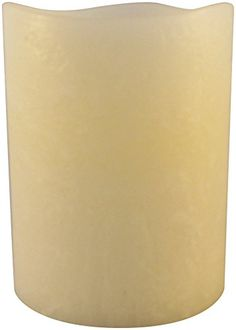 Flameless Pillar Candle by Pushwick from Liown Frosted Finish Unscented Remote Ready LED Candle with Timer and Batteries 3x4 Ivory -- Want to know more, click on the image.