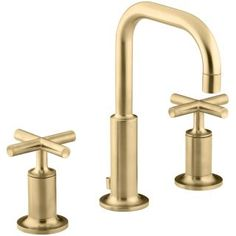 Buy the Kohler Vibrant Moderne Brushed Gold Direct. Shop for the Kohler Vibrant Moderne Brushed Gold Purist Widespread Bathroom Faucet with Ultra-Glide Valve Technology - Free Metal Pop-Up Drain Assembly with purchase and save. Kohler Purist, Kohler Faucet, Widespread Bathroom Faucet, Lavatory Faucet, Bathroom Sink Faucets, Gold Faucet, Kitchen Faucets, Brass Bathroom, Basement Bathroom