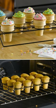 Cupcake Cones // Serve no-mess, no-waste cupcake cones easily made with this special non-stick baking rack.good idea for a bday party Just Desserts, Delicious Desserts, Dessert Recipes, Yummy Food, Cupcake Recipes, Yummy Treats, Sweet Treats, Cupcake Cones, Bon Dessert
