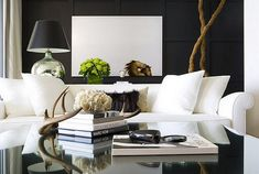 White crisp and clean. Black wall