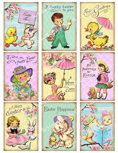 Printable Easter Tags INSTANT DOWNLOAD Digital by TheVintageRemix