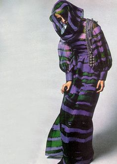 Givenchy Harpers Bazaar magazine, 1970s vintage fashion style couture designer purple green silk long maxi dress gown puff sleeves organic stripes head scarf wrap formal evening wear model magazine print ad color