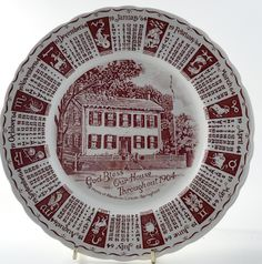 Red & White 1964 Royal Staffordshire Ceramics Calendar Plate with Lincoln's Home