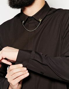 ASOS - Smart Shirt In Longline With Collar Chain