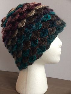 Knit winter hat/toque crochet crocodile stitch/dragon scale- multi peacock colors by NadoandLola on Etsy Crochet Crocodile Stitch, Knit Crochet, Crochet Hats, Peacock Colors, Dragon Scale, Yarn Sizes, Beanies, Winter Hats, Knitting