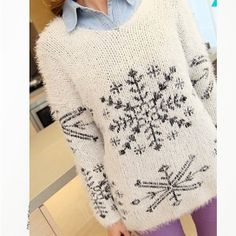The Fuzzy Snowflake Sweater from Hudiefly on OpenSky