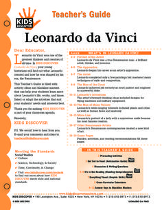 This free Lesson Plan for Kids Discover Leonardo da Vinci will help you teach kids about this great historical figure, who owned such titles as artist, engineer, scientist, inventor, and musician.