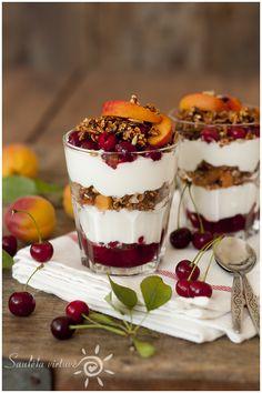 Granola Cherry Apricot Greek Yogurt Parfait