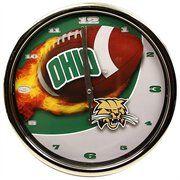 Ohio Bobcats Flame Chrome Clock