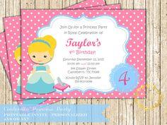 Cinderella Princess Birthday Party Invitation Polka Dot Cute Disney Princess Invite Digital Printable by PeachyPrintsShop on Etsy