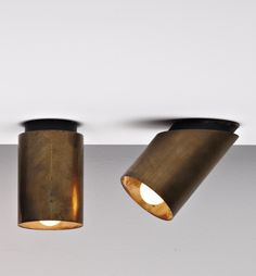 Jacques Quinet; Brass and Enameled Brass Ceiling Lights, c1960.