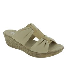 Taupe Vanessa Leather Wedge Sandal