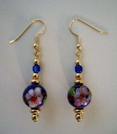 Blue and Pink Floral Cloisonne and Gold Beaded by JewelrybyIshi, $16.50