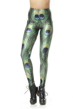 Amour-Sexy Damen Pfau digital Eindruck dünn Leggings elastische Hose Einheitsgröße passt für XS zu M (petite, grün): Amazon.de: Bekleidung
