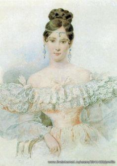 a portrait of Natalia Goncharova (1812-1863) - the wife of the greatest Russian poet Alexander Pushkin