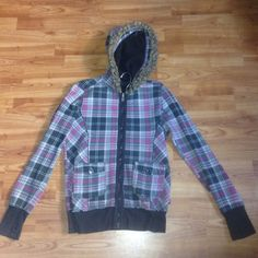 L.A. Kitty size small grey pink plaid hoodie Leech lining with faux fur around lining of goodie good condition. Has holes for the thumbs in the jacket. A little wearing on back. Great piece to keep you warm in the winter. If you have any questions feel free to ask! La kitty Tops Sweatshirts & Hoodies