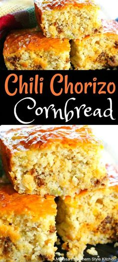 This Chili Chorizo Cornbread is infused with the favor of chorizo sausage and green chiles. Fresh Bread, Sweet Bread, Mexican Dishes, Mexican Food Recipes, Scones, Biscuit Bread, Comida Latina, Southern Recipes, Food Dishes