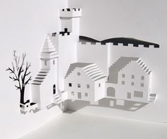 Out of a single blank sheet of paper an entire Village Square will emerge, with a pick-up truck parked under a tree. Experience and patience are needed to cut and fold this pop-up scene. Click here for general instructions, and buy the template for $2.99.