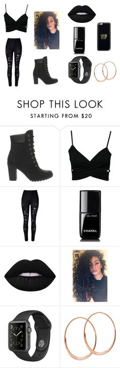 """All Black Outfit for a Party"" by jadamarie1225 on Polyvore featuring Timberland, Chanel, Lime Crime, Lana and Casetify"