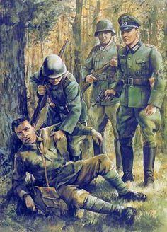 by Zhukov - The Military History Emporium — A wounded Soviet falls into German hands. German Soldiers Ww2, German Army, Military Art, Military History, Soldier Drawing, Ww2 Posters, Military Drawings, Germany Ww2, Warfare