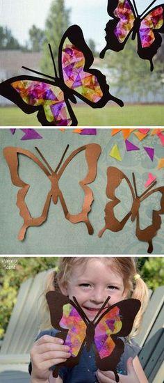 DIY Tissue Paper Butterfly Sun Catchers Kids Craft: