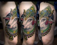 Nandi Bull नन्दी Tattoo. Inked by Sergej Rakov. Nandi is the name for the bull which serves as the mount of the god Shiva and as the gatekeeper of Shiva and Parvati.
