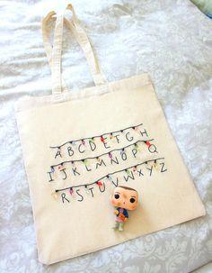 Stranger things Tote bag Embroidered bag Cotton shopper bag