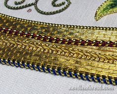 Mission Rose Silk and Goldwork Embroidery Project by Mary Corbet http://www.needlenthread.com/2014/01/a-shocking-blue-silk-for-the-mission-rose.html