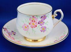 Phoenix TEA CUP AND Saucer Pink Mauve Flowers