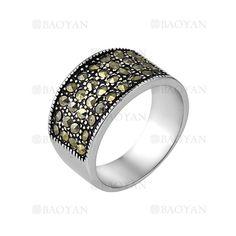 anillo de cristal brillo especial en acero plateado inoxidable para mujer-SSRGG271895