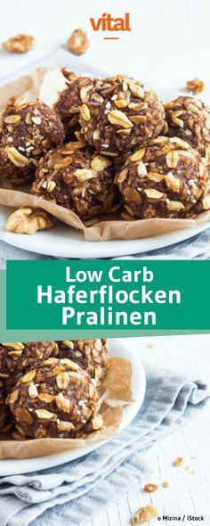 Schnelle Low Carb Pralinen mit Haferflocken, Banane und Chia. Jetzt probieren!