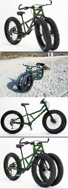 "Anyone that's ever tried to ride a bicycle through the sand or snow knows how easily standard tires are bogged down, making it a near impossible feat. But a new fleet of ""fatbikes"", like Rungu's new Juggernaut bike, have got that problem pegged. Equipped with large, soft tires, these bikes practically float over snow and sand."