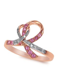 Rare Unique Diamonds Only at Capri Jewelers Arizona ~ www.caprijewelersaz.com 14K Rose Gold Pink Sapphire and Diamond Ribbon Ring, 0.38 TCW