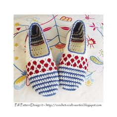 Ravelry: Stripe and Dot Slippers. Light one-piece, toe-up slippers. Can be worked in wool, as well as cotton. With or without cord and balls. Pattern by Ingunn Santini